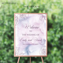 Load image into Gallery viewer, Wedding Welcome Sign Personalized Floral Purple Fall Wedding Watercolor Lilac Sign Engagement Party Sign {Adoria Collection}
