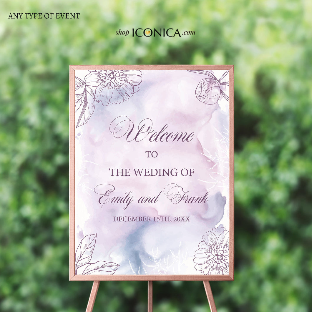 Wedding Welcome Sign Personalized Floral Purple Fall Wedding Watercolor Lilac Sign Engagement Party Sign {Adoria Collection}