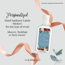 "Load image into Gallery viewer, 40 Personalized Labels Printed 1""w x 2""h Hand Sanitizer Labels Fits Purell 1oz Boho Burgundy Red Flowers and Feathers Antibacterial Stickers"