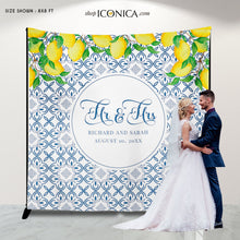 Load image into Gallery viewer, Lemon Wedding Backdrop for reception Lemon Backdrop Personalized Lemon Bridal Shower Backdrop Lemon Party Photo Booth {Toscana Collection}