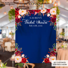 Load image into Gallery viewer, Bridal Shower Backdrop for reception Floral Burgundy and Navy Backdrop Personalized Bridal Shower Backdrop Wedding Photo Booth Backdrop