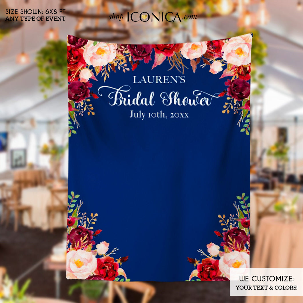 Bridal Shower Backdrop for reception Floral Burgundy and Navy Backdrop Personalized Bridal Shower Backdrop Wedding Photo Booth Backdrop