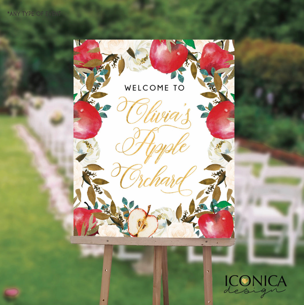 Apple party Welcome Sign Personalized Apple of my eye Sign Floral Printed Apple Orchard First Birthday Sign {Apple of my eye Collection}