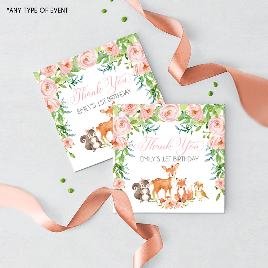 Woodland Favor Tags Forest Animals Thank You Tags Pink Woodland Gift tags Pink Floral Woodland Favor Labels{Pink Floral Woodland Collection}
