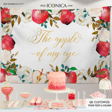 Load image into Gallery viewer, Apple of my eye Backdrop Apple Backdrop Personalized Fall Party Backdrop Fruit Party Photo Booth {Apple of my eye Collection}