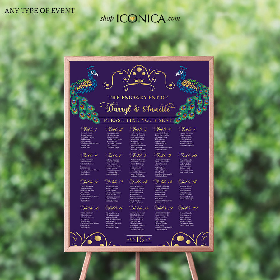 Peacock Wedding Seating Chart Board Peacock Guest List Chart Seating Chart, Template Or Printed {Annette Collection}