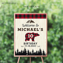 Load image into Gallery viewer, Lumberjack Baby Shower Welcome Sign Personalized Printed Buffalo Plaid Welcome Sign Checked Plaid Red & Black plaid Lumberjack Welcome sign