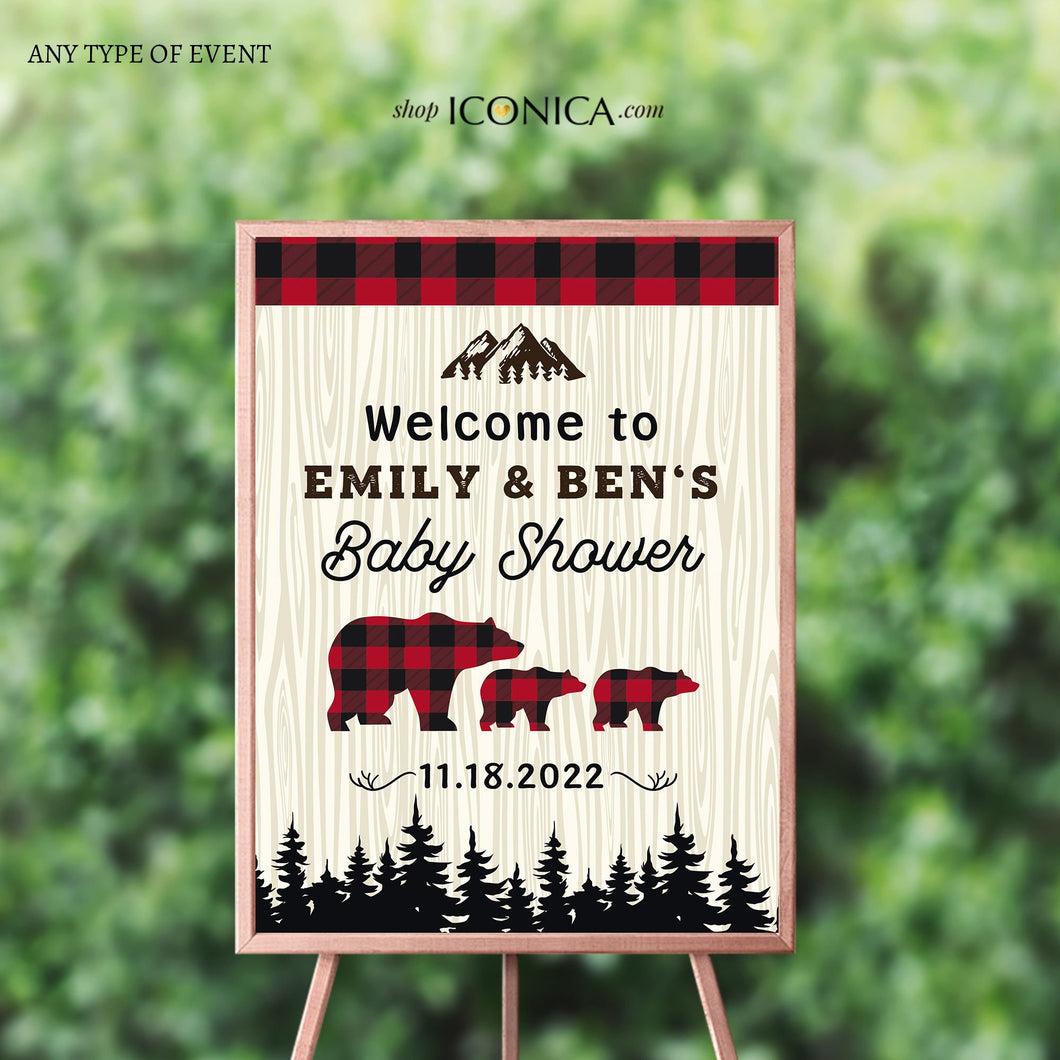 Lumberjack Baby Shower Welcome Sign Personalized Printed Buffalo Plaid Welcome Sign Checked Plaid Red & Black plaid Lumberjack Welcome sign