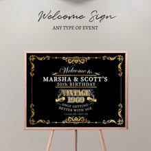 Load image into Gallery viewer, 50th Birthday Welcome Sign, Aged to Perfection Custom Gift,Personalized 50th birthday sign,Vintage Birthday Decor,Printed Or Printable File