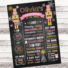 Load image into Gallery viewer, Nutcracker First Birthday Chalkboard Sign Holiday Birthday Poster Nutcracker Party Decor Any age or colors - 1st Birthday Chalkboard Poster