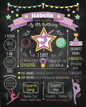 Load image into Gallery viewer, Gymnastics - Chalkboard Sign Birthday Poster - Any Color- Any Age- Any Type Of Event - First Birthday - Printed Or Printable File.