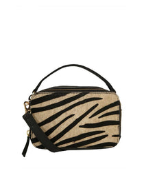 PIECES Nali Leather Cross Body If - White Pepper Zebra