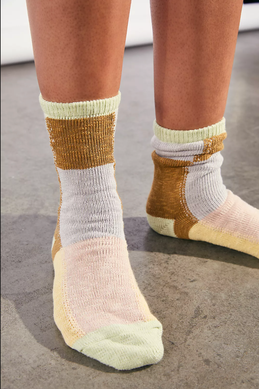 Patchwork Chunky Crew Sock, Chartreuse