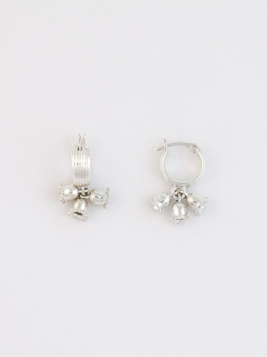 Lily Of The Valley Hoops, Sterling Silver