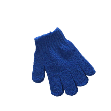 exfoliating gloves blue