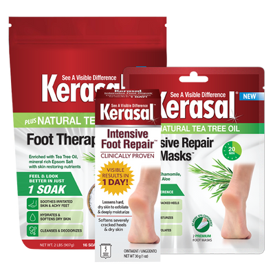 Kerasal® Intensive Foot Repair Bundle (Mask, Soak and Intensive Foot Repair).