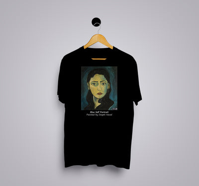 Blue Self Portrait by Deepti Naval - Printed T-Shirt