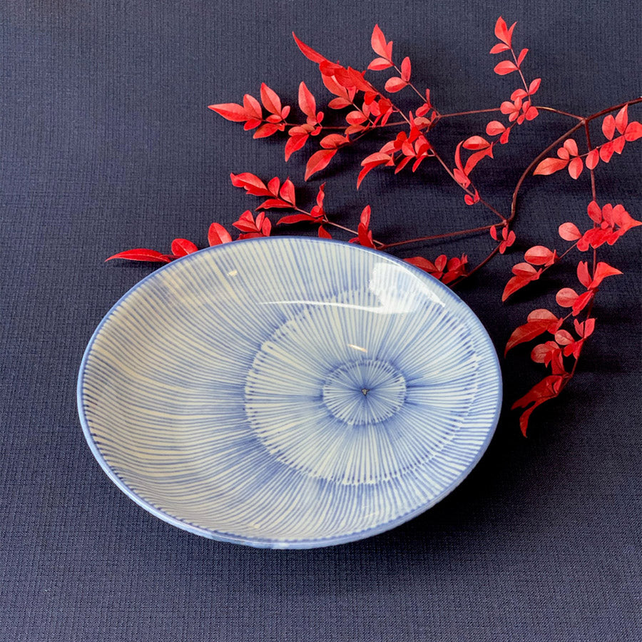 Medium Mino Old Dyed Fireworks Half Bowl