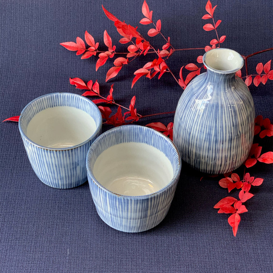 Mino Old Dyed Striped Dishes and Soba Choko Cup Set