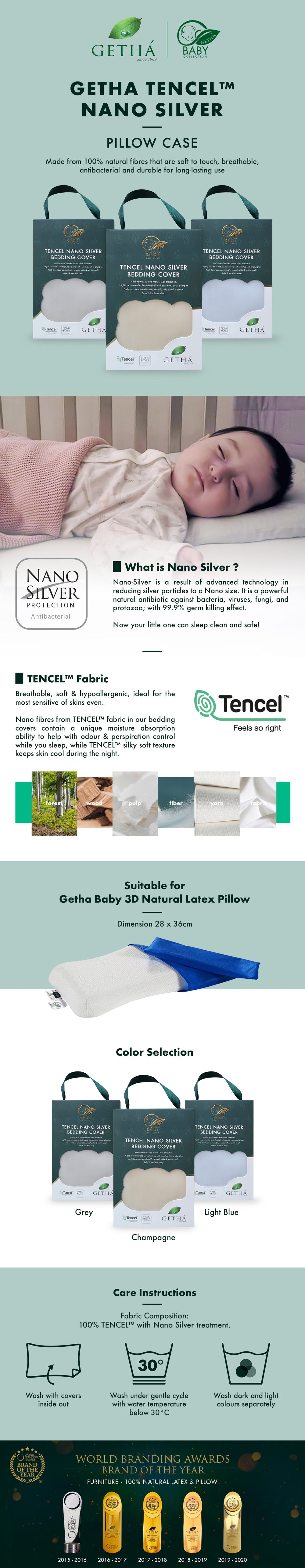 Getha Tencel Nano Silver Pillow Case – Baby 3D Latex Pillow