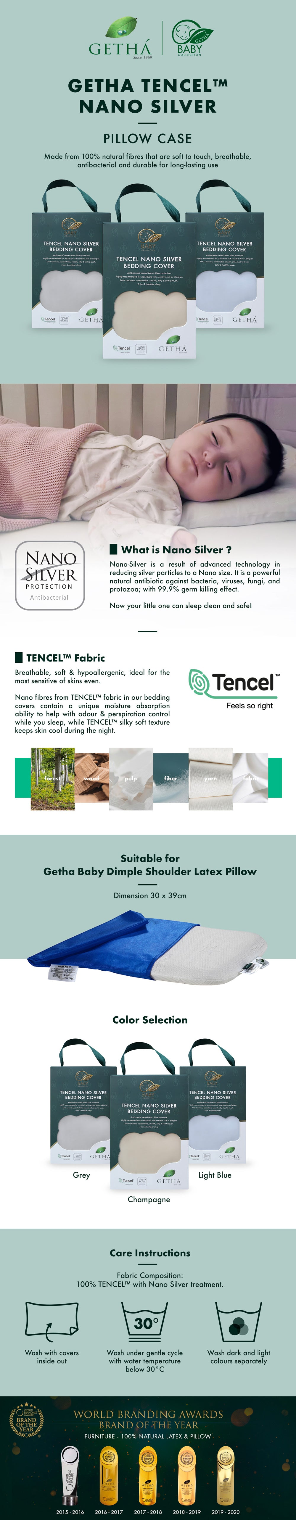 Getha Tencel Nano Silver Pillow Case – Baby Dimple Shoulder Latex Pillow