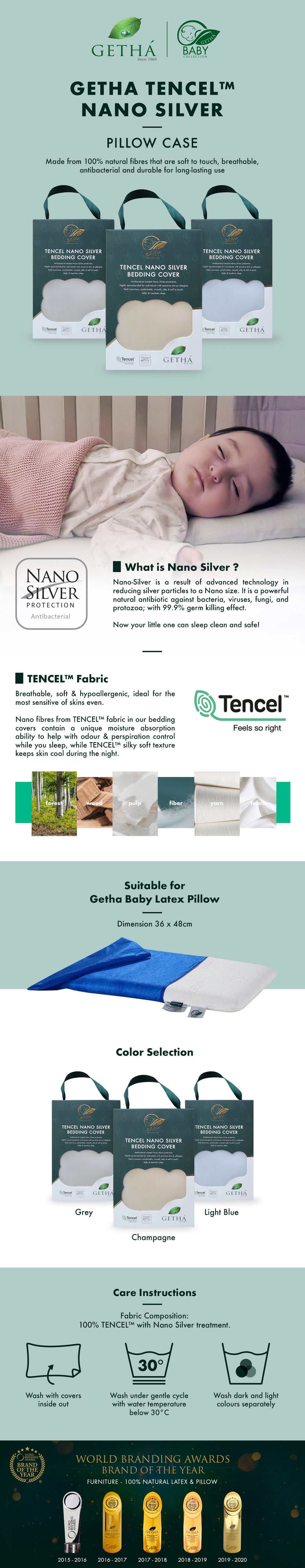 Getha Tencel Nano Silver Pillow Case – Baby Latex Pillow