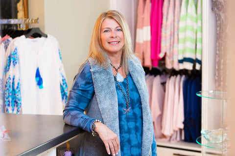 Cindy walked into Kiskadee over 5 years ago with a suitcase full of on-trend jewelry representing local artisans. She walked out with an empty case and a job offer as a stylist in the store, which she gladly accepted! Cindy loves fashion and her idea of a fun afternoon at Kiskadee is helping every client find clothes that fit perfectly or an outfit for any occasion. You'll often find her dressed in Johnny Was, one of her favorite brands at Kiskadee. When Cinday isn't at the nest, you can find her exploring new boutiques with her friends, walking her dog Lucy, or traveling to a sunny locale with her husband and now grown sons.