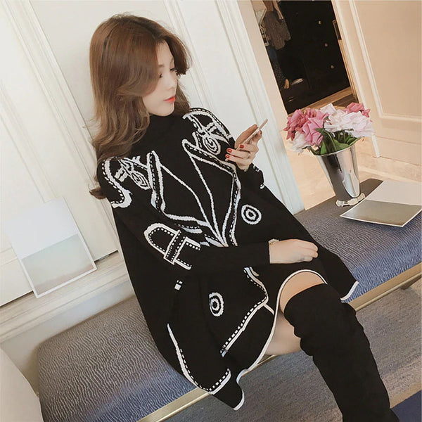 High Collar Korean Oversized Knitted Sweater