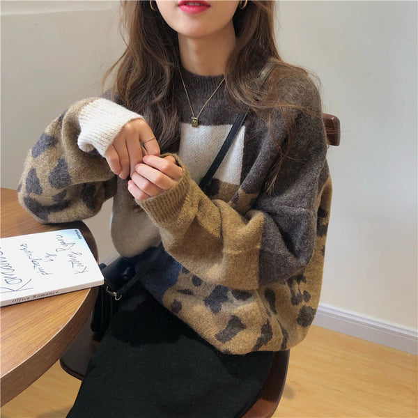 Korean Vintage Leopard Pullover Sweater