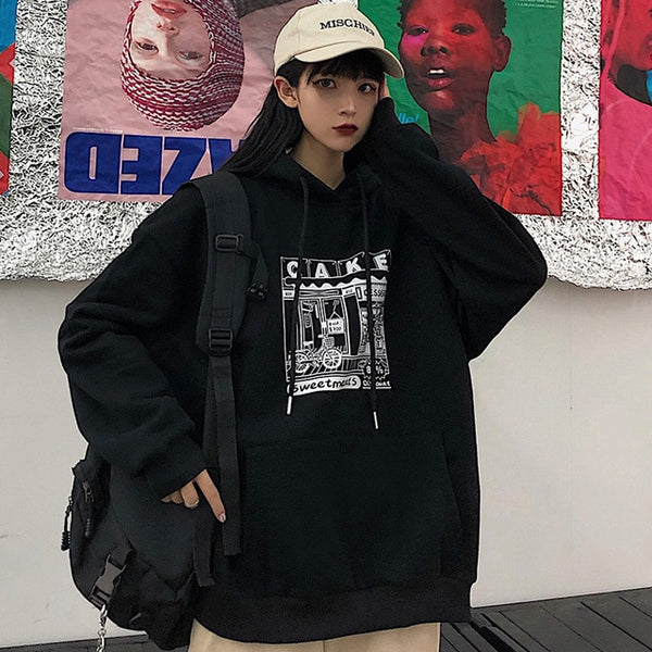 Korean Printed Oversized Hip-hop Hoodie