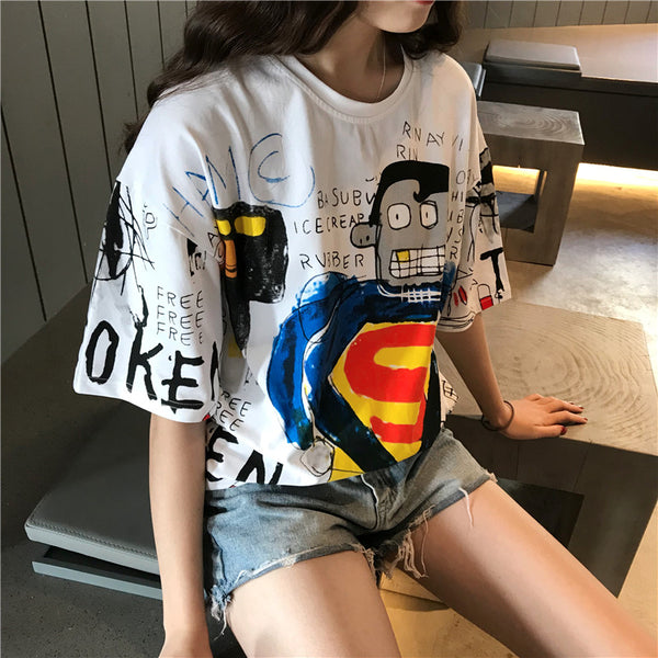 Casual Loose Cartoon Print T-shirt