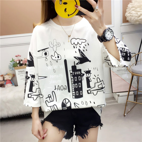 Harajuku Short-Sleeve Cartoon Shirt