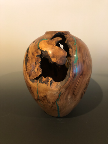 WT #88, Hollow Form Vessel from Spalted Crabapple Rootball with Malachite inlay.  Nfs