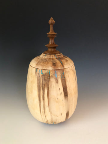 WT #51, Hollow Form Vessel from Spalted Aspen with Chrysocolla inlay.