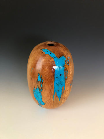 "WT #63, Hollow Form Vessel from ""Rich Lightered"" Ponderosa Pine with Turquoise inlay"