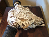 P #19, Pyrography on Bull Bison Skull.  SOLD