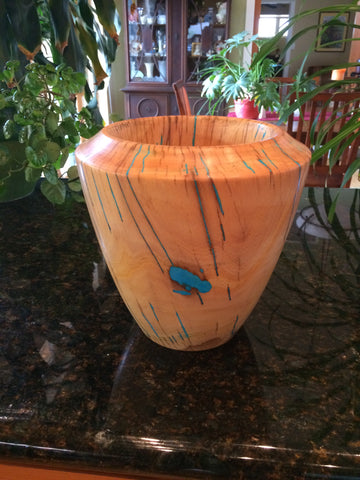WT #14,  Hollow Form Vase from Japanese Elm with Turquoise inlay.  SOLD