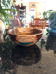 WT #53, Bowl from Spalted Aspen with Malachite inlay.  Sold
