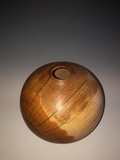 WT #107, Hollow Form Vessel from Gambel Oak with Malachite inlay.