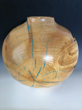 "WT #113, Hollow Form Vessel from ""Rich Lighter"" Ponderosa Pine with Turquoise inlay."