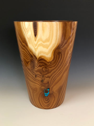 WT #55, Vase from Russian Olive with Turquoise inlay