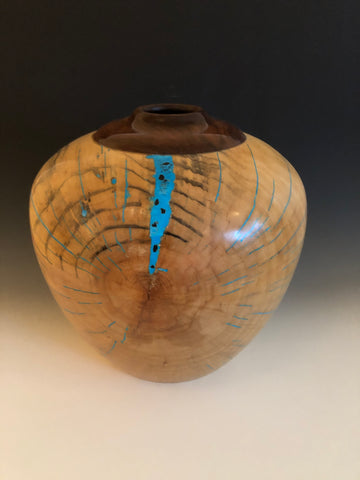 WT #87, Hollow Form Vessel from Spalted Silver Maple and Walnut with Turquoise and Jet inlay.
