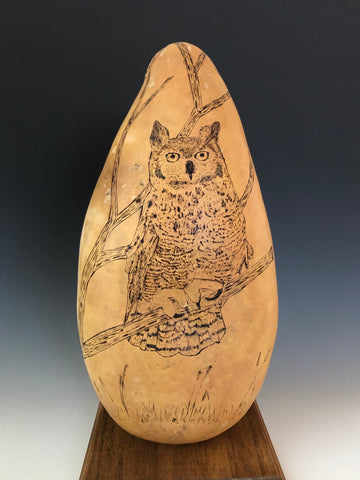 P #13, Pyrography on Gourd,  NFS