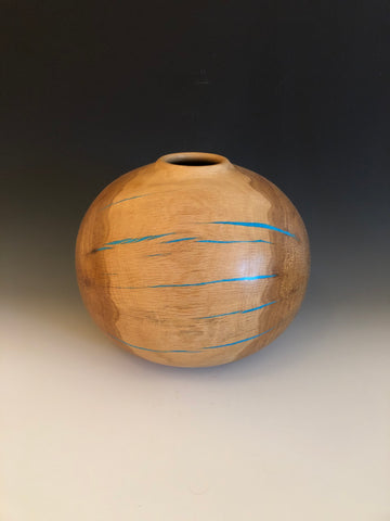 WT #86, Hollow Form Vessel from Spalted Gambel Oak with Turquoise inlay.