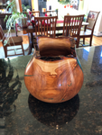 WT #46, Live Edge Hollow Form Vessel from Cresthaven Peach with Malachite inlay.  SOLD