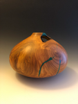 P #111, Hollow Form Vessel from Cresthaven Peach with Malachite inlay.