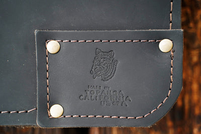 Leather bag with Made in Topanga stamped in