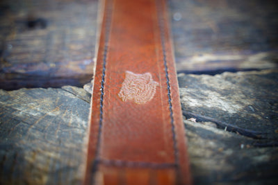 Close-up photo of leather guitar strap