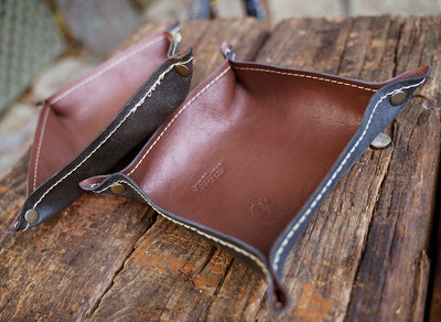 Brown leather valet trays