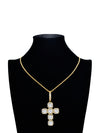 Iced Out Cross Pendant Necklace Gold Plated Chain Necklace Paired With A 24In Rope Chain